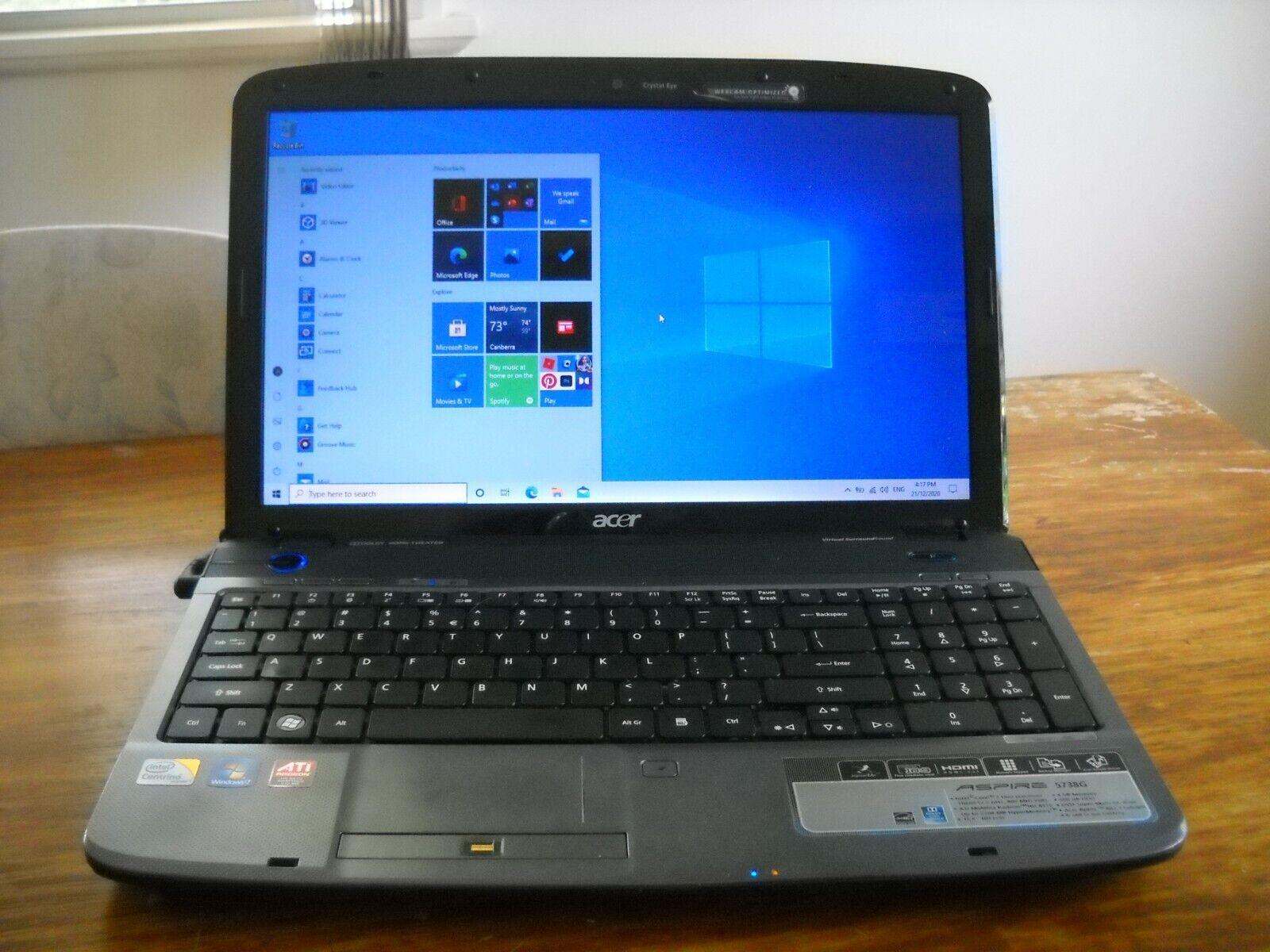 "Laptop Windows - Acer laptop Aspire 5738G – 15.6"" Windows 10"