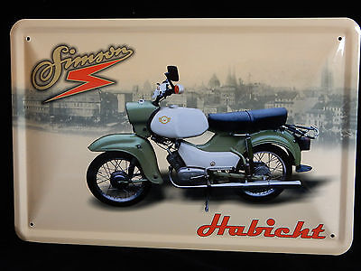 Blechschild Simson Moped Habicht DDR Suhl 20 x30