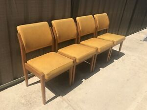 Set (4) Mid Century Dining Chairs by Wrightbilt. Teak Parker Style.