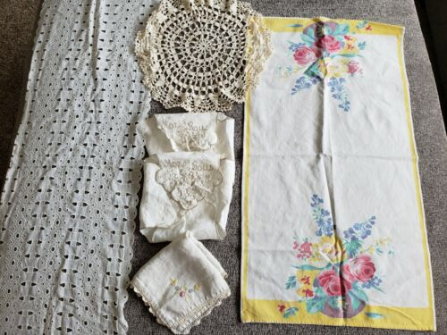 Vintage Set of 6 Linens Hot Rolls, Eyelet, Doilies, Embroidered, Colored Runner