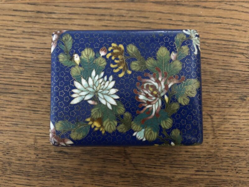 Old Chinese Cloisonne Floral & Deep Blue Enamel Humidor Footed Box