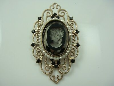VTG 1980'S BLACK MIRROR GLASS CAMEO RHINESTONE SCROLL FRAME SETTING PIN (R-28)