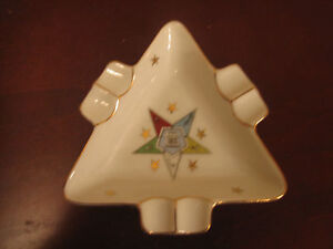 Vintage-Lefton-China-Handpainted-Order-of-the-Eastern-Star-Triangle-Ashtray