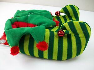 5c4027b12e5f Women s Elf Slippers Green Stripe Bell Size Lg XL 9-11
