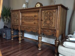 Solid antique oak credenza and dining table