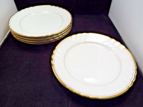 """Fitz & Floyd Orleans Blanc White with Gold Trim 5 Dinner Plates, 10 1/4"""""""