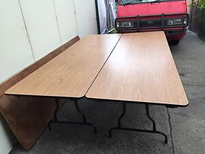 2 x light oak laminate steel legged trestle tables free delivery Springvale South Greater Dandenong Preview