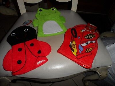 Set of 3 Bath Mitt Puppets - frog, lady bug, Disney pixar car