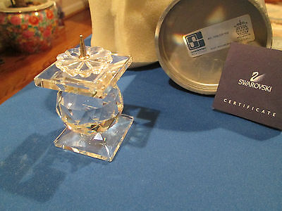 Swarovski Silver Crystal CANDLE HOLDER Pin Style #7600 w/ Box