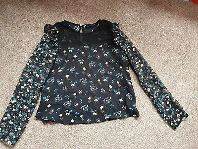 ☆☆ ZARA BLACK FLORAL CHIFFON  TOP/BLOUSE SIZE XS IN EXCELLENT CONDITION ☆☆