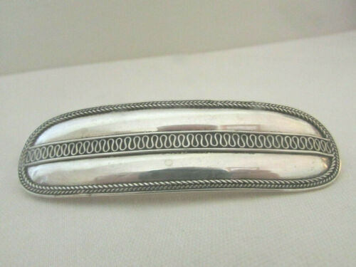 Sterling Silver 925 Oval Hair Barrette /Embossed Decorative Edge & Center Design
