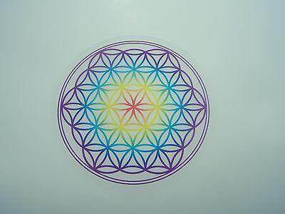 "Untersetzer ""Blume des Lebens"" 9,5 cm Chakra-Farben Lebensblume aus Acryl"