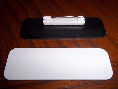 10-1x3 Whiteblack Name Badge Blanks Tags With Pinback Included Wround Corners