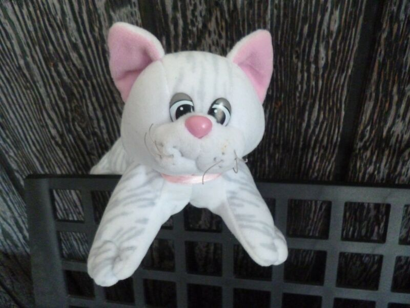 Tonka Pound Pur-r-ries newborn cat kitten white/gray stripe plush stuffed 8""