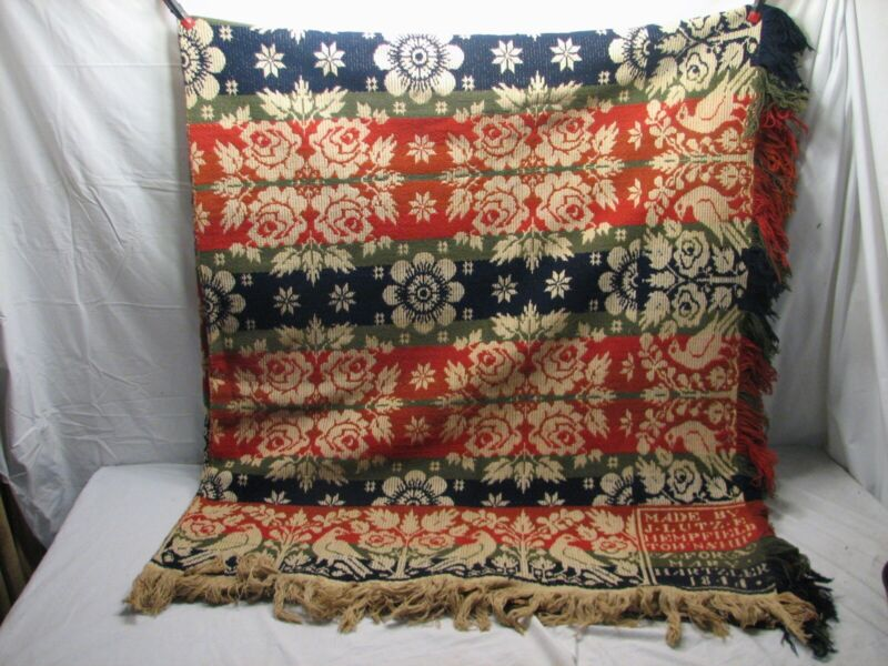 Antique Coverlet Loom Bed Spread Lancaster 1855 Hempfield Township PA LUTZE