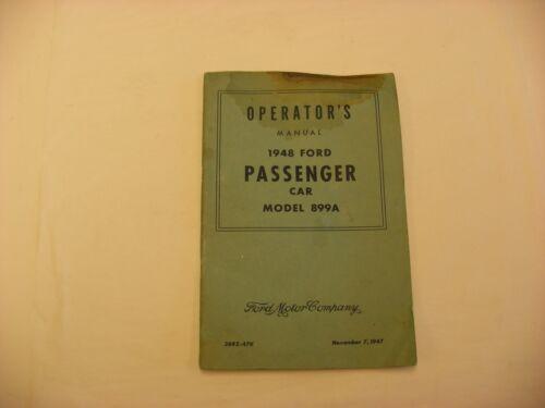 Vtg Automobile Catalog Ford Motor Co Passenger Model 899A Operation Manual 1948