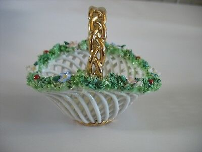VINTAGE ELFINWARE BASKET Hand painted Italy BASKET WEAVE Lattice porcelain dish