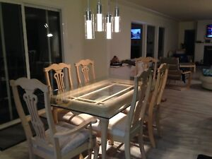 Dining Table with Six Chairs - glass top