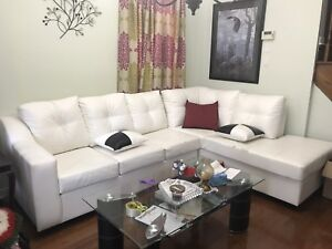 White Leather Sectional Sofa/Couch
