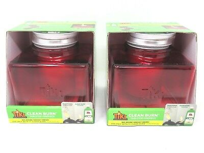 Tiki Clean Burn Tabletop Torch Red 2 Count - Tabletop Tiki Torches