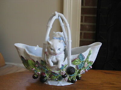 Meissen Johansen Roth Basket of Cats Kittens & Applied Blackraspberries Figurine