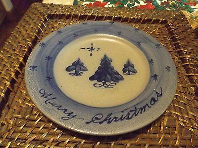 "Vintage Rowe Potter Works Salt Glazed Blue Christmas Trees 7 3/4"" Plate"