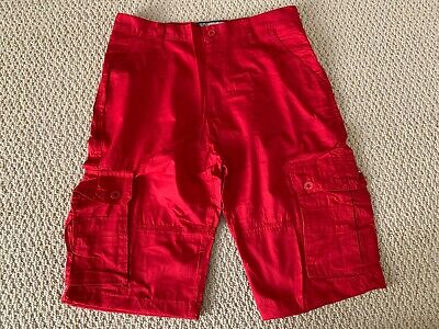 New Men's All Nation 1994 Flame Red Cargo Flap Pocket Shorts ALL SIZES (Cargo Flap Pocket Shorts)