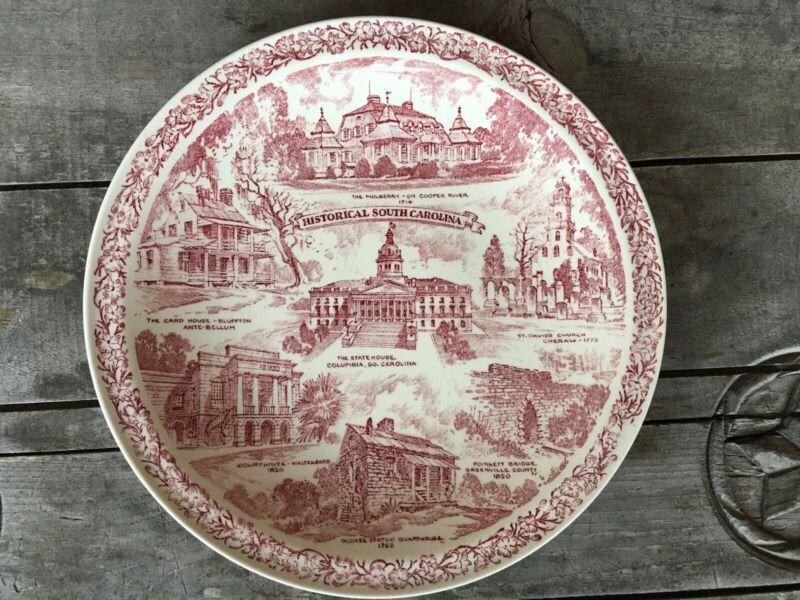 VERNON KILNS The Palmetto State  Display Plate HISTORICAL SOUTH CAROLINA
