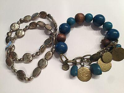 Wow Mixed Metal Aqua Blue   Brown Stretch Bracelet Group Lia Sophia