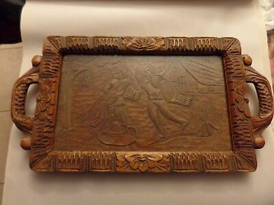 ANTIQUE CARVED WOODEN TRAY 13