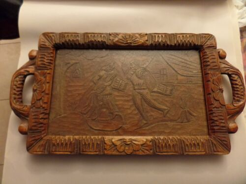 ANTIQUE CARVED WOODEN TRAY