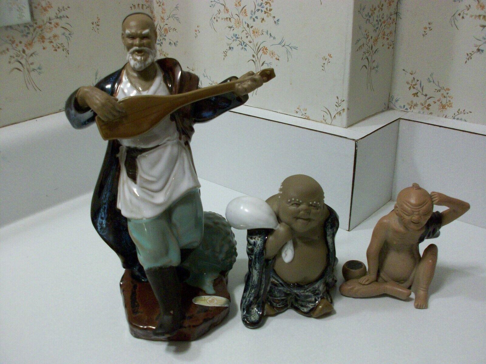 Vtg Lot Chinese Shiwan Clay Mudmen Oriental Asian Mudman Statue Figure Figurines - $19.99