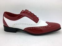 Hombre Rojo Zapato Oxford Charol Gánster Redondo Cuero Jazz Spat Fiesta Talla -  - ebay.es