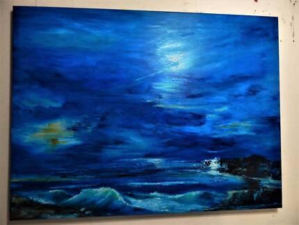 DORRICOTT ART ORIGINAL SEASCAPE 120X90CM OIL PAINTING
