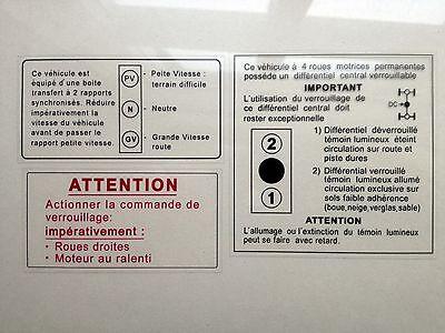 Dangel 4X4 505 Estate Peugeot Warning advice window Stickers rare 1980 off road