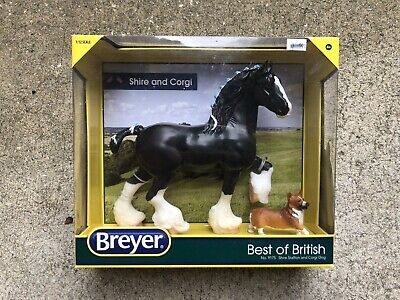New NIB Retired Classic Breyer Horse #9175 Best of British Black Shire Corgi Dog