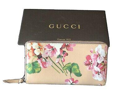 GUCCI Long Wallet Round Zip Pink Flower Pattern