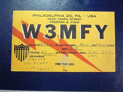 Vintage 1940s QSL Radio Card Postcard W3MFY - PHILADELPHIA, PA PENNSYLVANIA #2