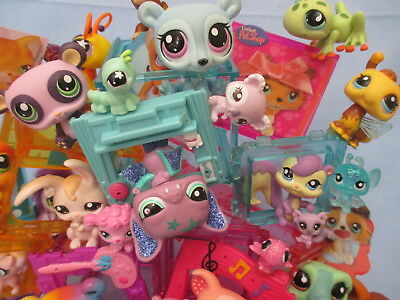 Littlest Pet Shop Lot 7 Pcs Random Figures with Babies Authentic Hasbro Lps