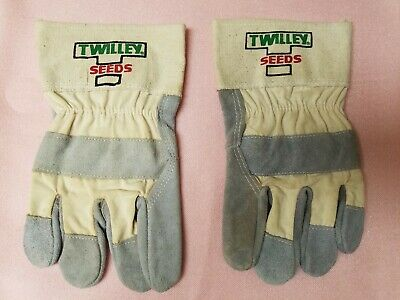 Mens Twilley Seeds Cotton Canvas And Suede Leather Work Gloves Regular Size