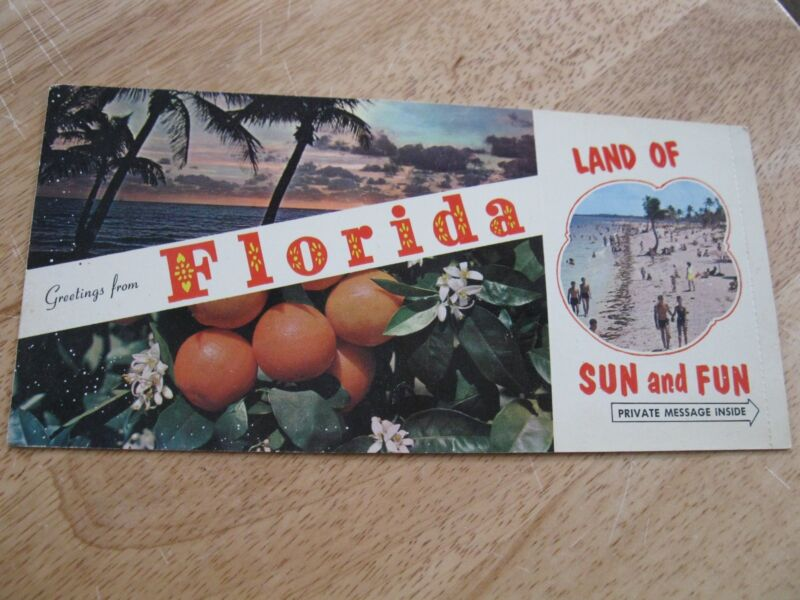 Vintage Florida Private Message Postcard Folding Fold Over Moisten Seal Beach
