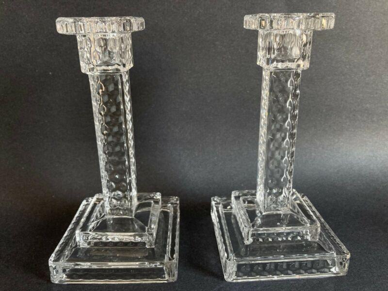 "Pair (2) Fostoria AMERICAN CLEAR crystal 7"" Single Square Step Candlesticks EUC"