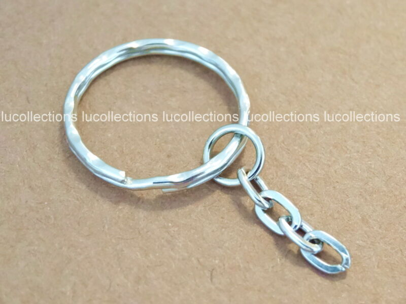 """100 Key Ring with Chain Key Rings 1"""" Key Chains Hammered H132-100"""