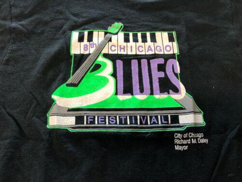 Vintage Blues T Shirt - 8th Chicago Blues Festival Richard M. Daley NOS L Black