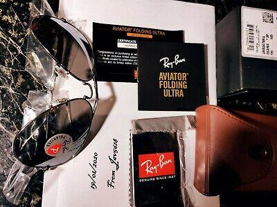 RAY BAN SUNGLASSES AVIATOR ULTRA FOLDING RB3479KQ 003/N4 GOLD 22Kt LE PILOT NEW*