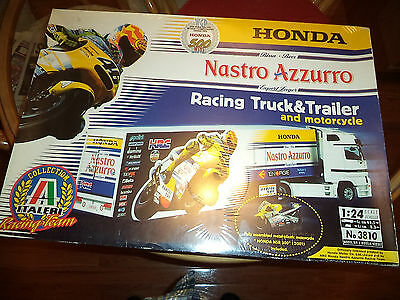 ITALERI 1/24 HONDA RACING TEAM TRUCKTRAILER AND MOTORCYCLE KIT2001NIB.
