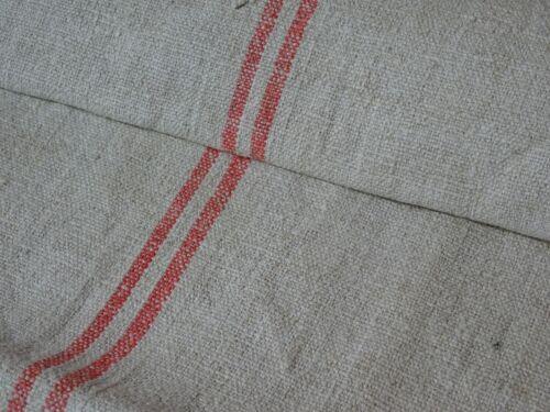 Antique European Feed Sack GRAIN SACK Red Stripe # 8959
