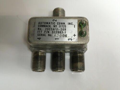 """Automatic Connector ITT 512983-1, 20CSA2/2-209 """"N"""" RF Power Splitter Combiner"""