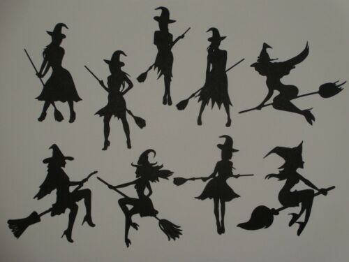 9 silhouette cute witches BLACK cardstock greeting card die cuts witch