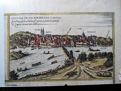 Grafik Frankfurt (Oder) alt - koloriert  Braun und Hogenberg - Original v. 1580